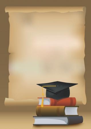 fondo de graduacion: Fondo de la graduación con los libros y la tapa birrete que simboliza la educación y la Ilustración de graduación
