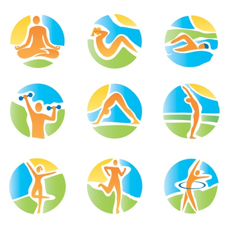Colorful icons with fitness and healthy lifestyle activities on an abstract landscape background  Expressive watercolor imitating vector illustration  Vectores