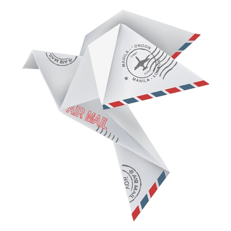 Origami pigeon in flying position with post stamps, in white background illustration  Vector