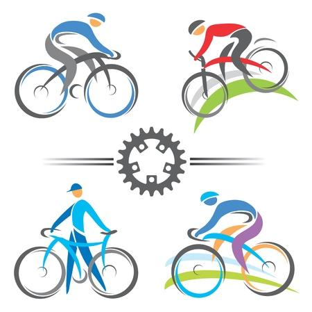 computadora caricatura: Ciclismo y bicicleta de colores iconos ilustraciones vectoriales monta�a