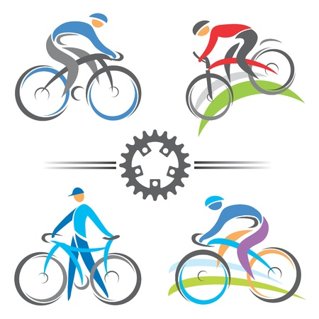 mountain bicycles: Colorful cycling and mountain biking icons  Vector illustrations