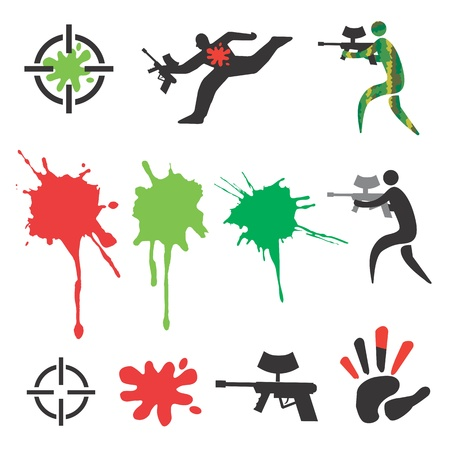 adrenaline: Set of paintball icons and design elements, spots and splash