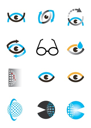 Set of optics, Optometry eye icons and design elements  Vectores