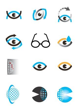 Set of optics, Optometry eye icons and design elements  Vettoriali