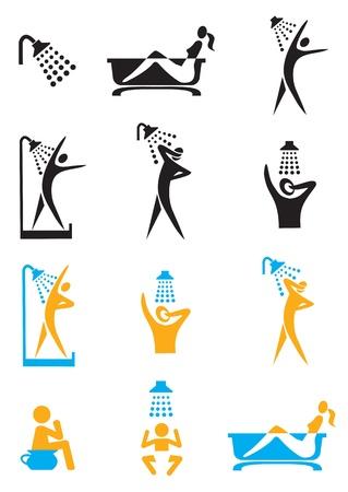 bodycare: Set of bathroom, shower, toilet icons  Illustration