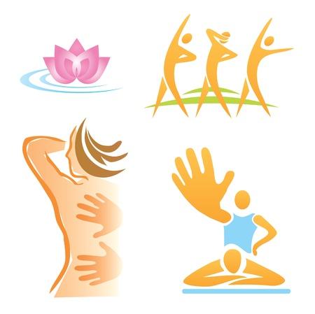 Juego de masajes, gimnasio, iconos spa Ilustración de vector