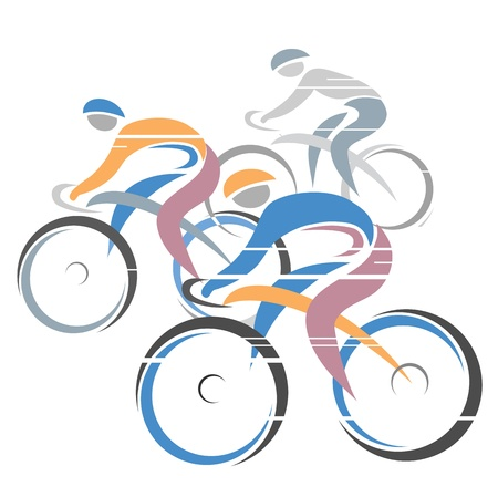 Colorful cycling race with three bike riders  Vector illustrations   Vector