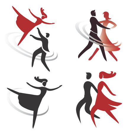 baile latino: Juego de sal�n de baile, danza y ballet iconos ilustraci�n