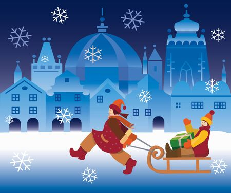 Small girl pulling a boy  with a Christmas Box  on a sled on the christmas town illustration