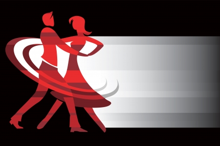 with a couple of ballroom dancers with place for text  illustration