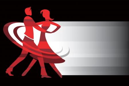 couple dancing: con un par de bailarines de sal�n con lugar para el texto Ilustraci�n