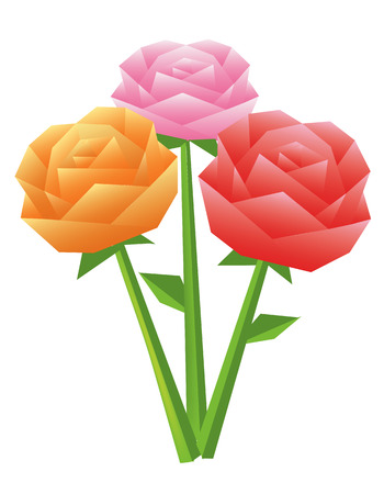 Paper bouquet of colorful origami roses  illustration  Vector