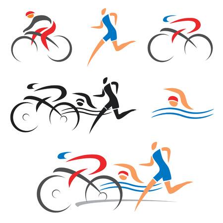 andando en bicicleta: Los iconos que simbolizan triatl�n, nataci�n, atletismo y ciclismo ilustraci�n vectorial