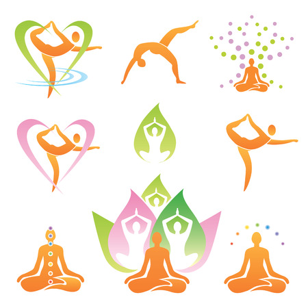 breathing exercise: Icons of yoga positions, meditation  and symbols  Vector illustration