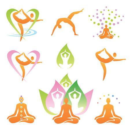 Icons von Yoga-Positionen, Meditation und Symbole Vektor-Illustration