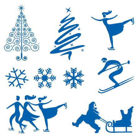 Set of winter christmas design elements  silhouettes of snowflakes christmas trees and Ice skaters  Vector illustration