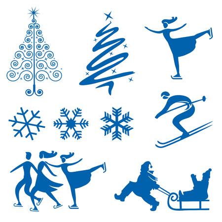 Set van de winter kerst design elementen silhouetten van sneeuwvlokken kerstbomen en schaatsers van het ijs Vectorillustratie Stockfoto - 23215624