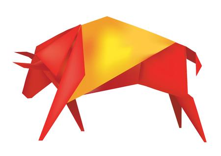 bandiera spagnola: Carta toro spagnolo nei colori della bandiera spagnola illustrazione vettoriale