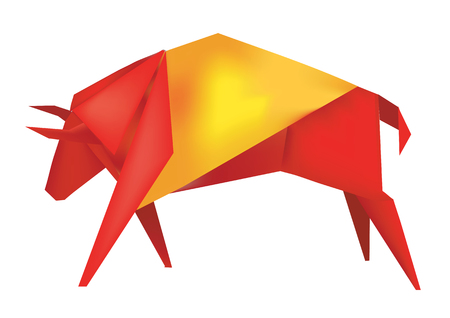 spanish bull: Paper Spanish bull in the colors of the Spanish flag  Vector illustration