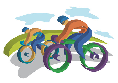 healthy path: Two bikers traveling on the road  Colorful Vector illustrations