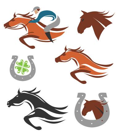 cavallo in corsa: Set di icone di corse di cavalli e simboli Illustrazione vettoriale