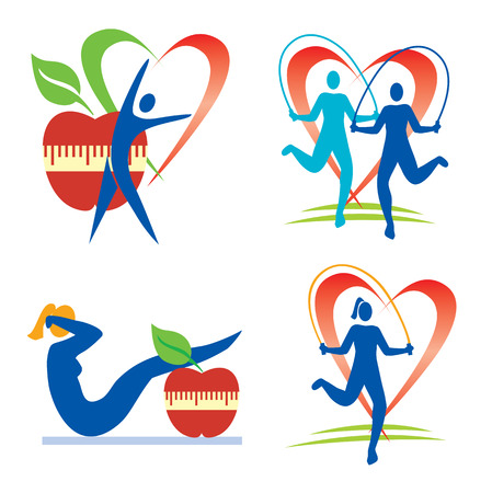 Icons with fitness and healthy lifestyle activities and symbols  Vector illustration
