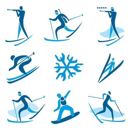 Icons and symbols of winter sport activities  illustration