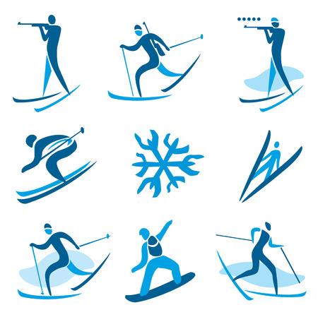 Icons and symbols of winter sport activities  illustration Banco de Imagens - 24590243