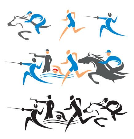 swim race: Iconos con moderna ilustraci�n vectorial atletas pentatl�n