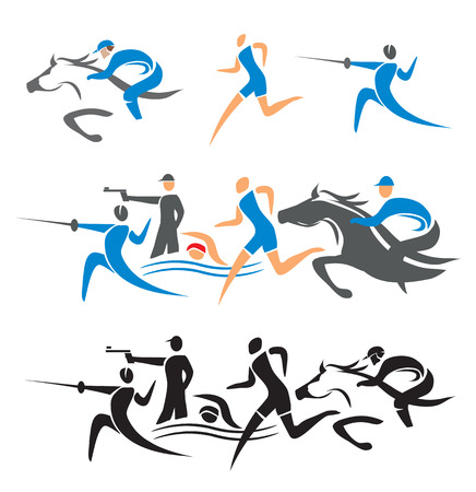 pentathlon: Icons with modern pentathlon  athletes  Vector illustration