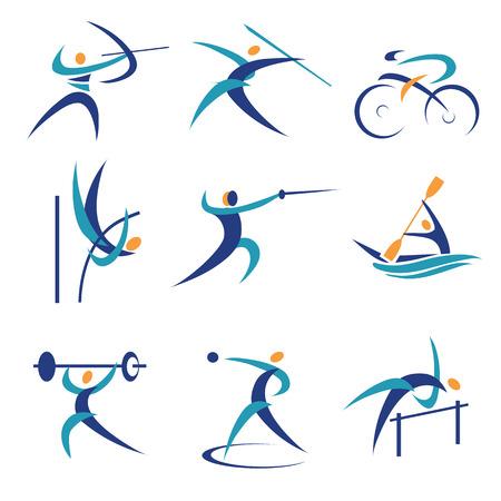 Icônes colorées et d'illustrations avec les sports Vector illustration Banque d'images - 24941713