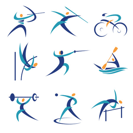 Colorful Icons and illustrations with sports  Vector illustration  Vectores