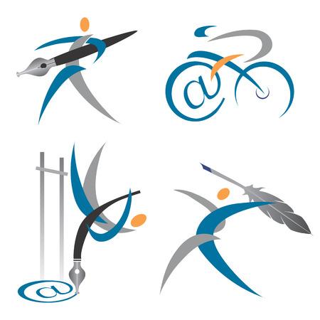 a poet: Iconos de colores y s�mbolos sobre el tema de la escritura y la direcci�n de correo Vector ilustraci�n Vectores