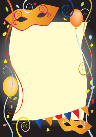 Vector background for carnival and party invitation cards with colored balloons and confetti  Vector