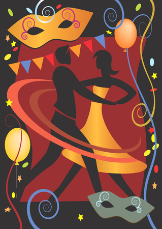 Dancing couple on the carnival background with colored balloons, masks  and confetti  Vector illustration  Vector