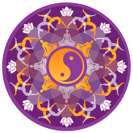 Mandala background with yoga symbols and positions  Vector illustration
