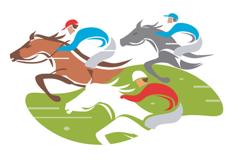 白い背景の上における速度ベクトル図で競走馬の図