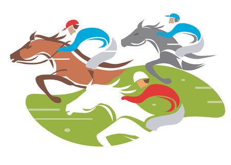 corse di cavalli: Illustrazione di Horse Racing a illustrazione vettoriale velocità completa su sfondo bianco