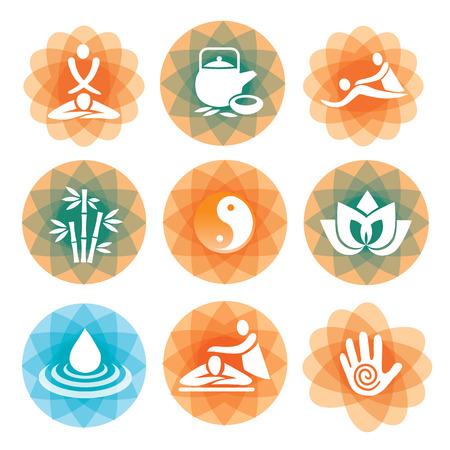 masaje: Conjunto de masaje, yoga y spa iconos en el fondo abstracto Ilustración vectorial colorido Vectores