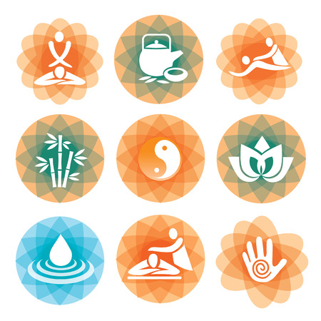 relaxation massage: Set of massage, yoga and spa icons on the colorful abstract background   Vector illustration