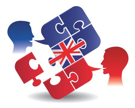 bandera inglesa: Dos estudiantes y Puzzle burbuja charla con una bandera británica que simboliza Inglés conversación ilustración vectorial