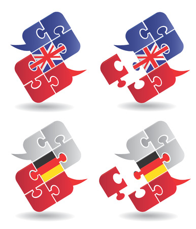 Puzzle speech bubbles with British and German flag symbolizing the dialogue in English and German  Vector illustration