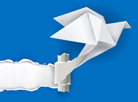 Vector illustratie van de Origami vogel rippen papier met plaats voor uw afbeelding of tekst Thema symboliseert openbaring, blootgelegd Stock Illustratie