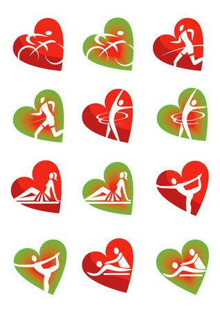 massage symbol: Icons with fitness and healthy lifestyle activities in heart shape  Vector illustration  Illustration