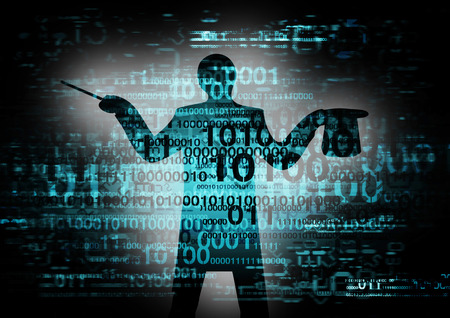 Grunge binary code background with a silhouette of computer magician  Foto de archivo