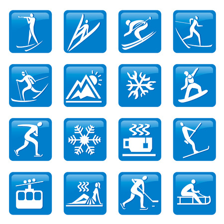 winter season: Web  buttons  with Icons and symbols of winter season  Vector  illustration