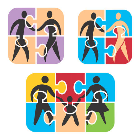 mather: Icons symbolizing Friendship, Partnership and  Family in puzzle   Vector illustration