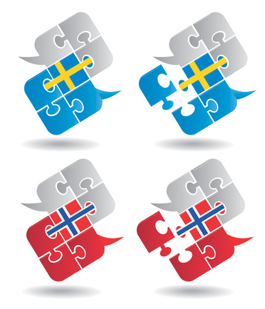 pronounce: Puzzle speech bubbles with Swedish  and Norwegian flag symbolizing the dialogue in Swedish  and Norwegian  Vector illustration