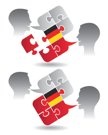 pronounce: Two students and Puzzle bubble talk with a German flag symbolizing German conversation Vector illustration  Illustration