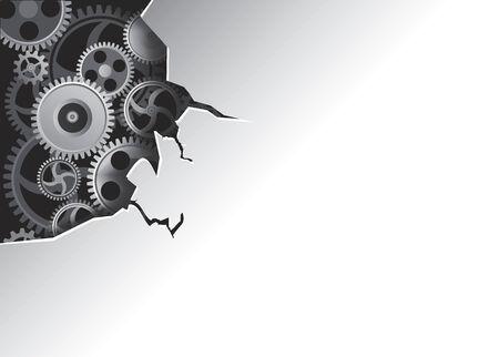 corner clock: Gears in  broken metal cover  Illustration